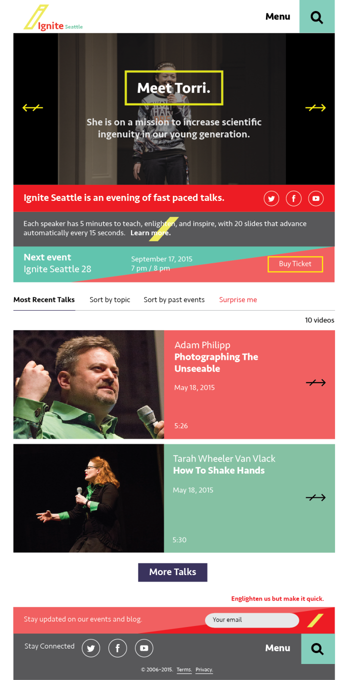Ignite Seattle Homepage (mobile)