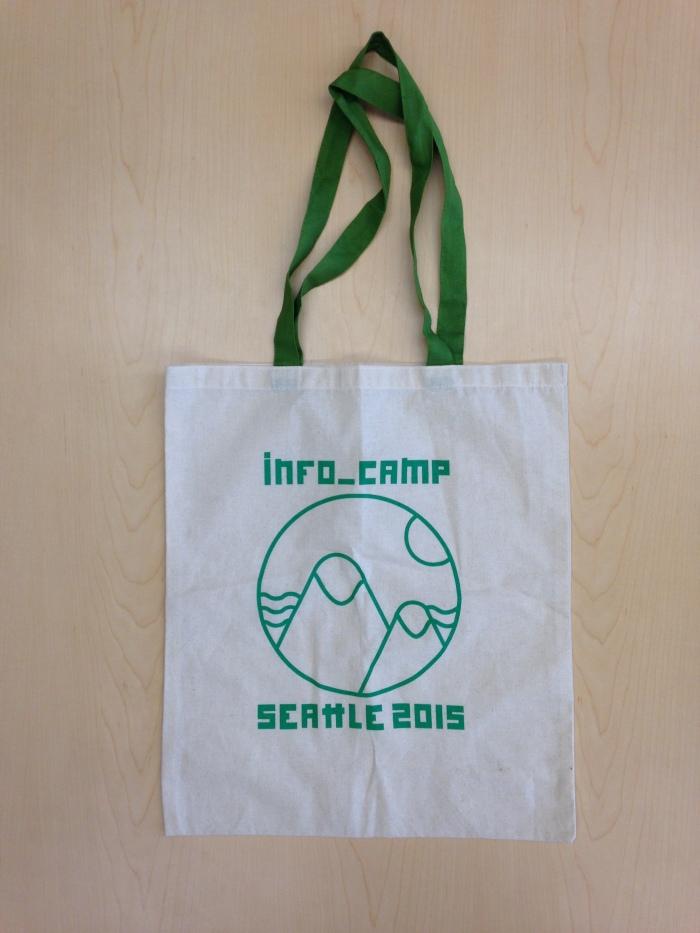 InfoCamp Seattle 2015 logo on tote bag