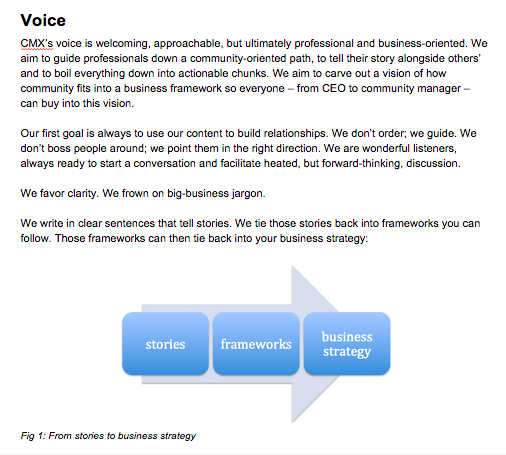 CMX Media voice and tone guide in the editorial style guide.