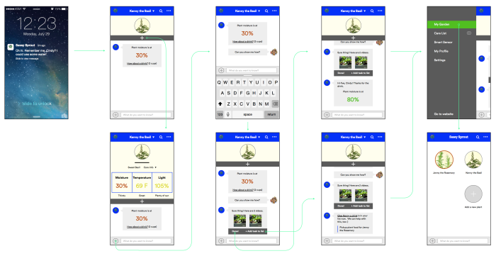 Sassy Sprout mobile app flow