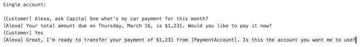 Example voice UI for asking about the amount and due date for this month's auto loan payment.