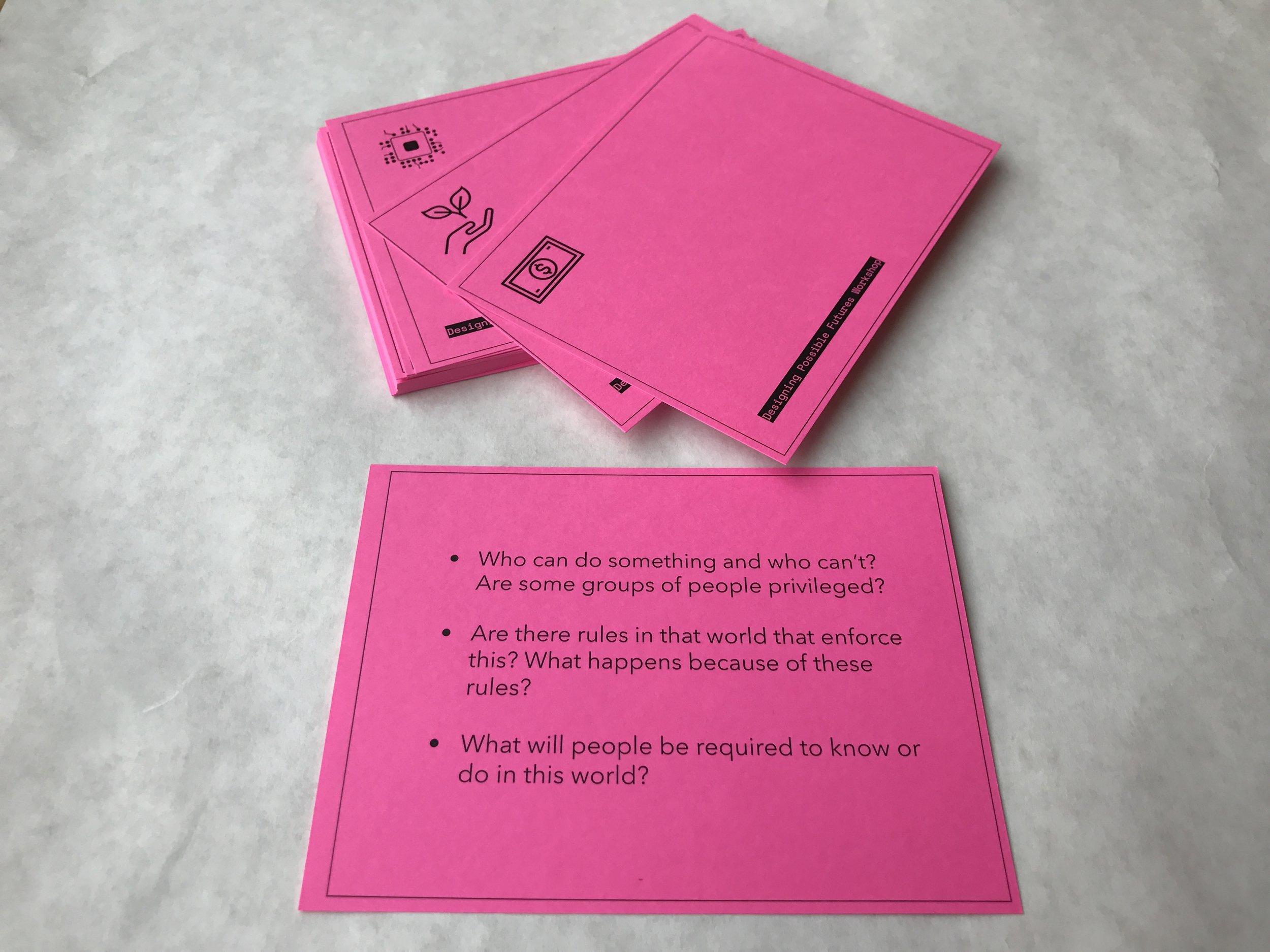 FutureShift card deck to help facilitate conversations about the near future scenarios.