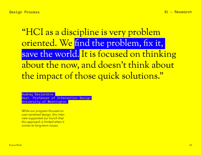Slide with a quote from Audrey Desjardins, an Assistant Professor of Interaction Design at the University of Washington.