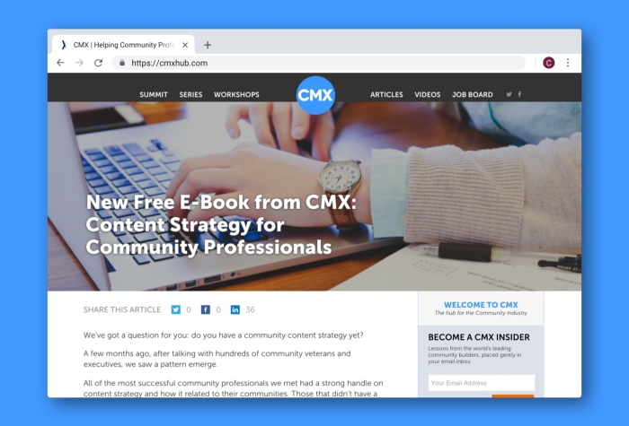 An article about content strategy for community professionals on the CMX Media website.