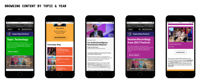 Redesigned mobile website for Aspen ideas Festival that shows a user flow for browsing content by topic and year.