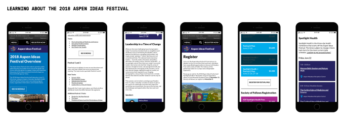 Redesigned mobile website for Aspen ideas Festival that shows a user flow for learning about the current year's topics and sessions and registration information.