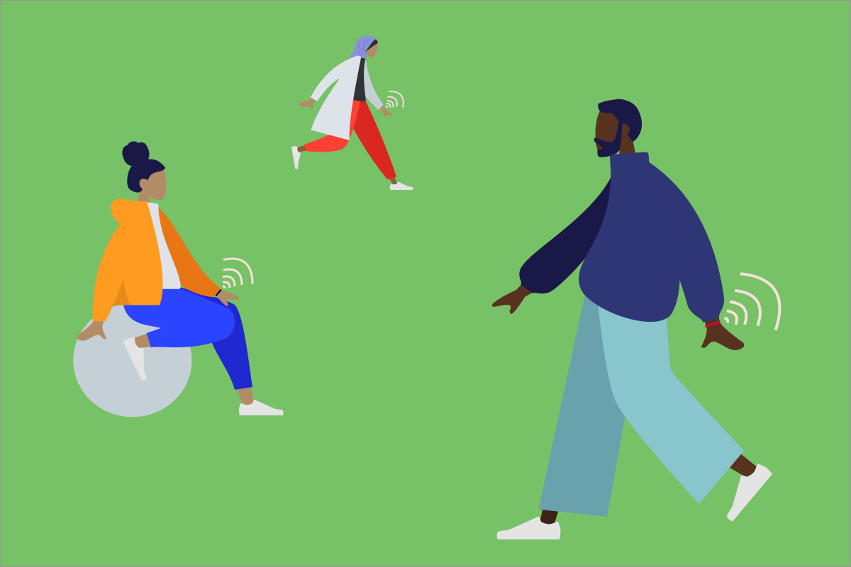 Illustration of inclusive avatars wearing a fitness tracker device. Modified. Creative Commons Attribution 4.0 International License. Created by Pablo Stanley. Obtained from https://www.humaaans.com.
